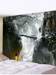 Christmas Castle Forest Print Tapestry Wall Hanging Art Decoration -