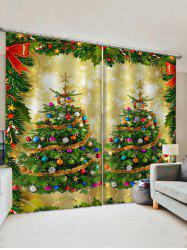 2 Panels Christmas Balls Tree Bowknot Print Window Curtains -