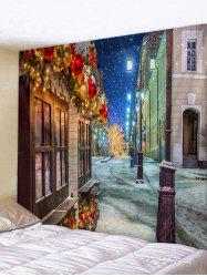 Christmas House Streetlights Print Tapestry Wall Hanging Art Decoration -