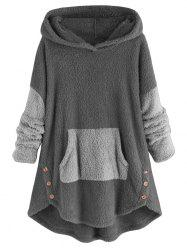 High Low Front Pocket Fluffy Faux Shearling Plus Size Hoodie -