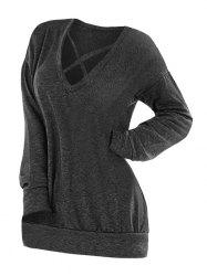 Plus Size Plain Crisscross Tunic Tee -