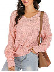 Ribbed Drop Shoulder Lace-up Open Knit Sweater -