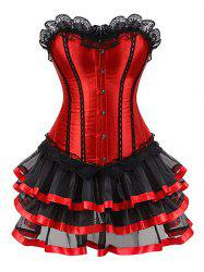 Lace Up Set Crochet et empiècement en dentelle Eye Corset - Rouge 3XL