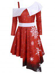 Snowflake Velvet Panel Asymmetric Christmas Dress -