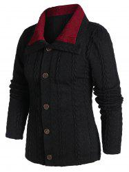 Contrast Cable Knit Button Up Cardigan -