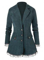 Plus Size Lapel Lace Trim Corduroy Blazer -