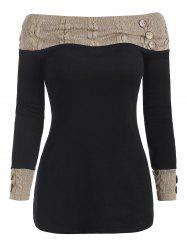 Knit Panel Buttons Long Sleeves Top -