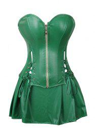 Lace Up Pleated Faux Leather Corset Set -