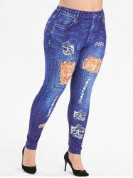 Plus Size 3D Printed High Waist Jeggings -