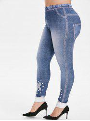 Plus Size Bowknot Print High Waisted Skinny Jeggings -