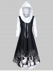 Hooded Deer Print Fit And Flare Long Sleeve Dress -