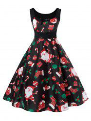 Plus Size Christmas Printed Vintage Pin Up Dress -