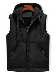 Solid Hooded Quilted Waistcoat -