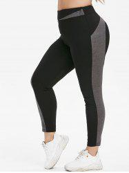 Plus Size Contrast High Waisted Tapered Skinny Leggings -