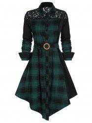 Lace Panel Plaid Print Belted Shirt Dress -