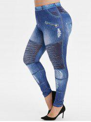 Plus Size Ripped Jean Imprimer Leggings Maigre 3D - Bleu Myrtille 1X