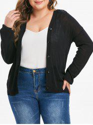 Plus Size Button Up Solid Cardigan -