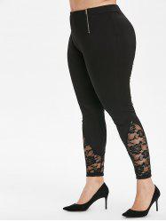 Plus Size Lace Panel Zippered Leggings -