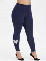 High Waisted Butterfly Lace Panel Plus Size Leggings -