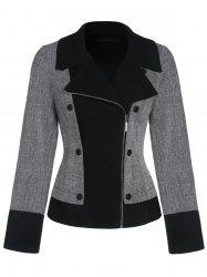 Double boutonnage Zip Up Jacket Lapel -