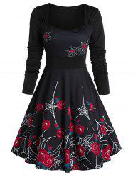 Rose Spider Web Print Fit And Flare Dress -