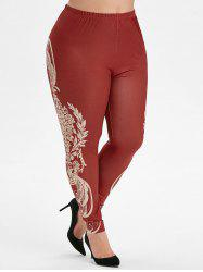 Pull On Printed Side High Waisted Plus Size Leggings -