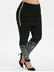 Plus Size High Rise Leopard Print Skirted Leggings -