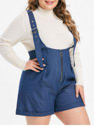 Plus Size Buckle Strap Cuffed Chambray Suspenders Shorts -