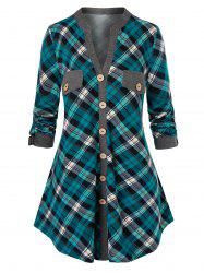 Plus Size Plaid Mock Buttons Roll Up Sleeve Blouse -