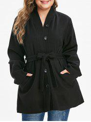 Plus Size Buttoned Belted Solid Coat -