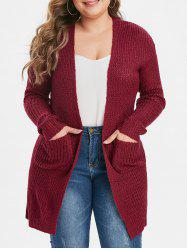 Plus Size double poches Cardigan solide - Rouge 1X