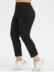 Plus Size High Waisted Side Slit Tapered Pants -