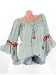 Plus Size Bell Sleeve Embroidered Blouse -