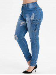 Plus Size Side Pockets Light Wash Ripped Tapered Jeans -