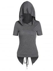 Hooded Lace-up Heathered Back Slit High Low T-shirt -