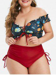 Lace Up Cinched Funny Planet Off Shoulder Plus Size Two Piece Swimsuit -