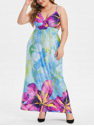 Plus Size Floral Shirred Maxi Surplice Dress -