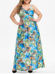 Plus Size Feather Paisley Print Maxi Cami Dress -