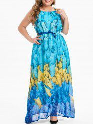 Plus Size Feather Print Belt Maxi Chiffon Dress -