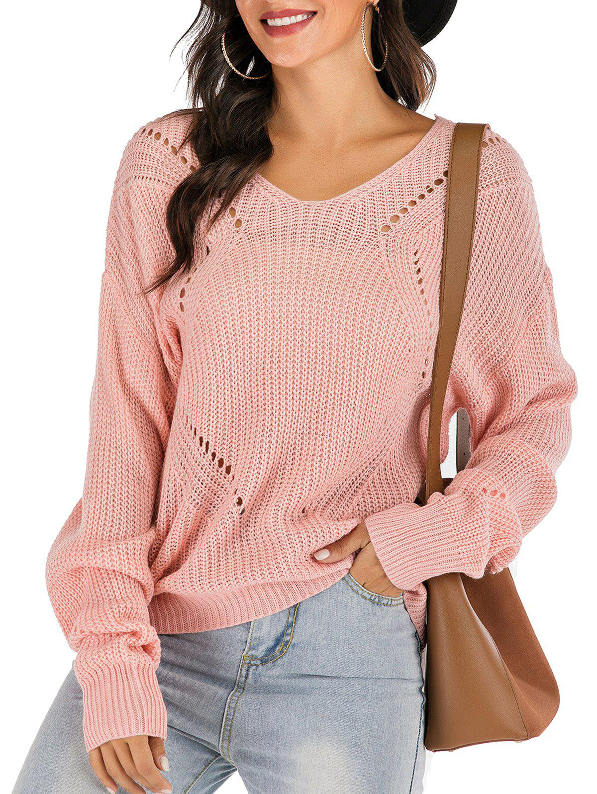 Affordable Ribbed Drop Shoulder Lace-up Open Knit Sweater
