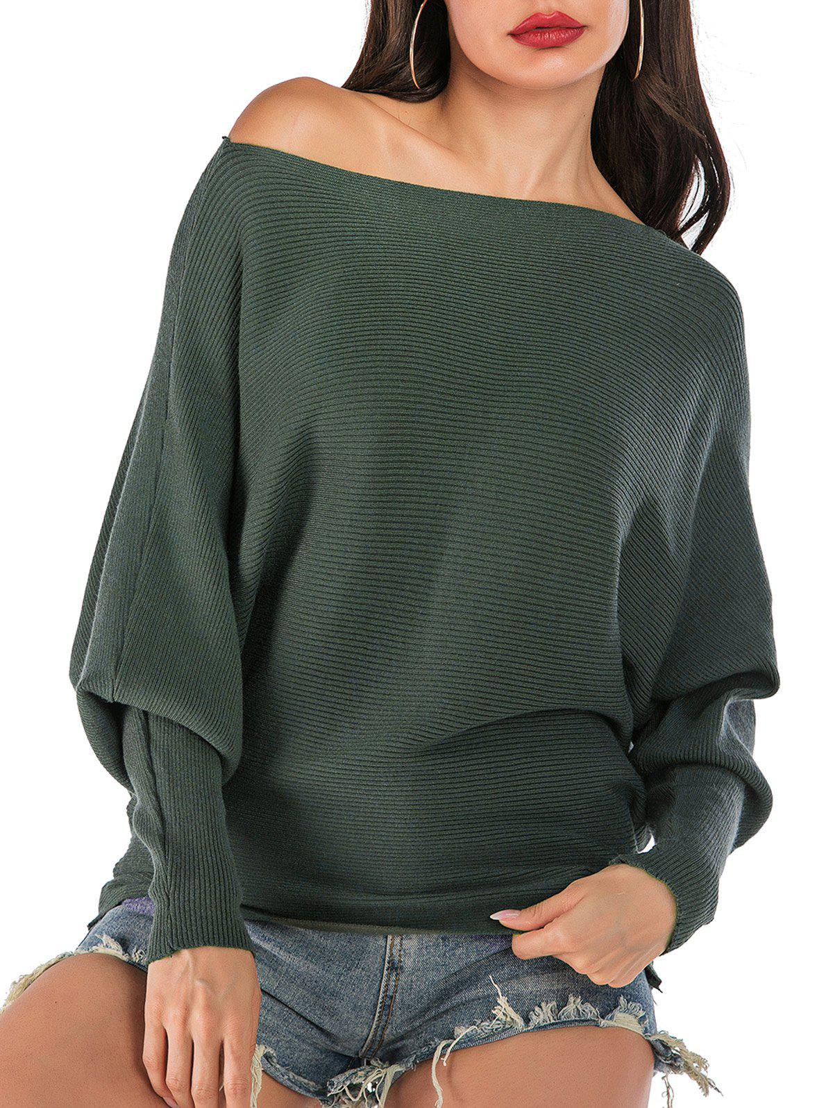 Outfit Batwing Sleeve Skew Neck Ribbed Sweater