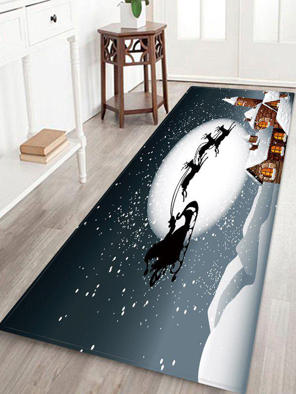 Affordable Christmas Moon Night Sleigh Castle Pattern Water Absorption Area Rug