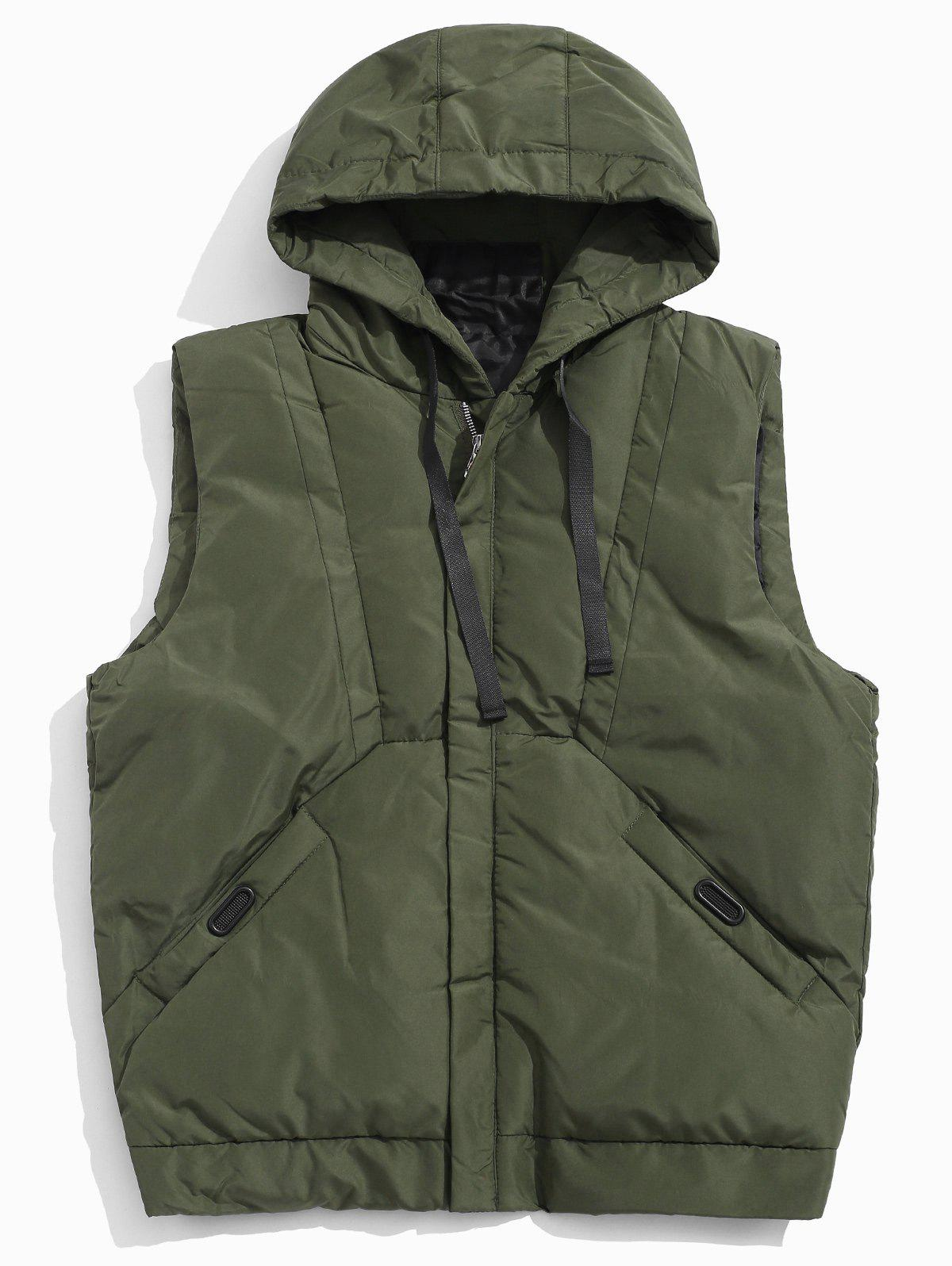 Online Solid Hooded Quilted Waistcoat