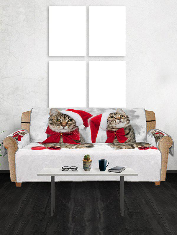 Best Christmas Cat Hat Balls Pattern Couch Cover