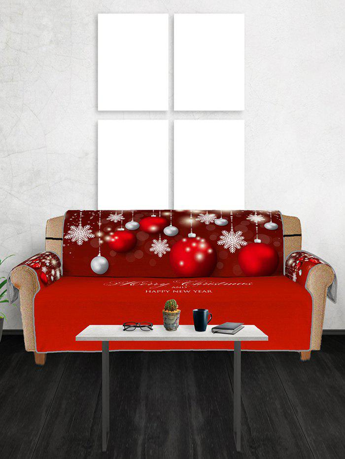 Fancy Christmas Balls Snowflake Greeting Pattern Couch Cover