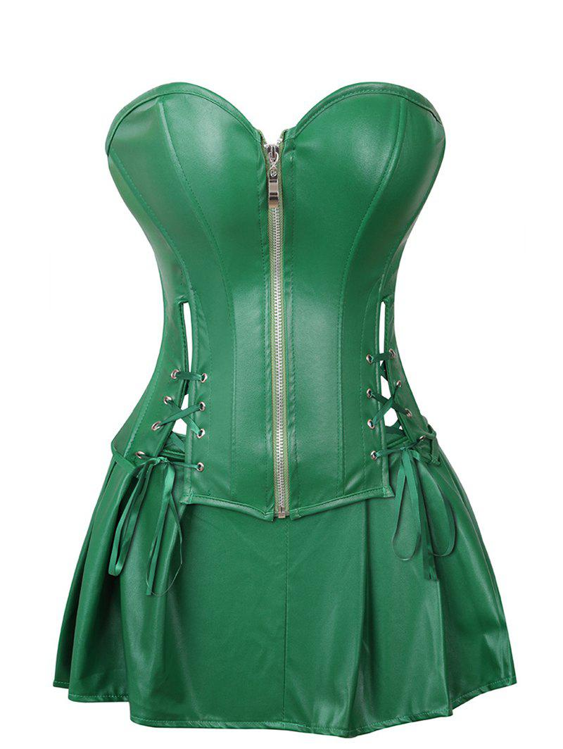 Outfit Lace Up Pleated Faux Leather Corset Set