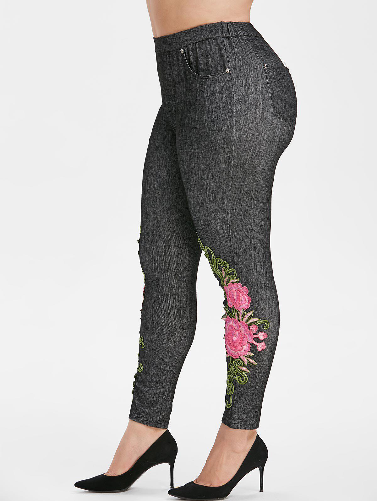 New High Waisted Pockets Floral Applique Plus Size Skinny Pants