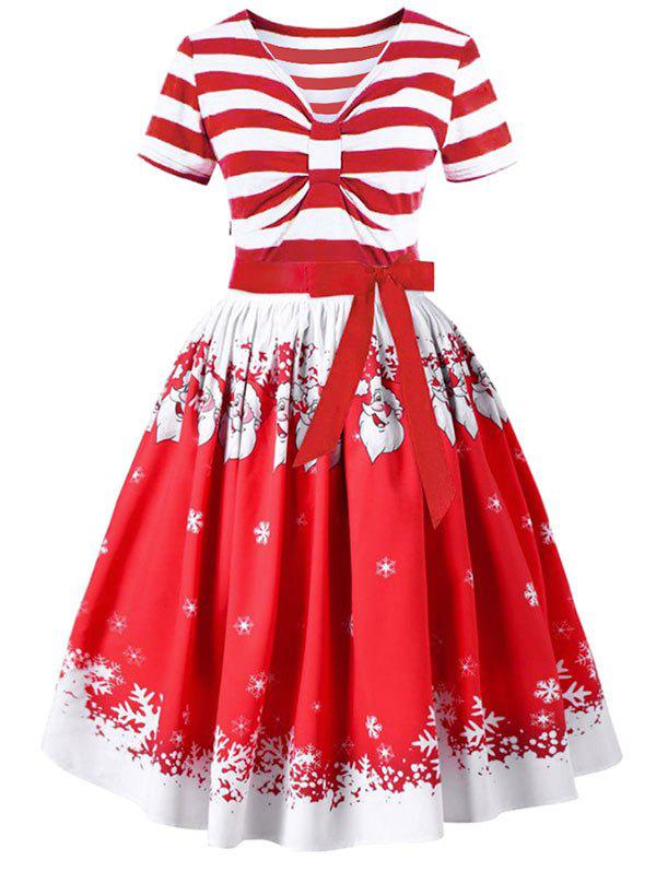Hot Christmas Santa Claus and Stripe Print Belted Vintage Dress