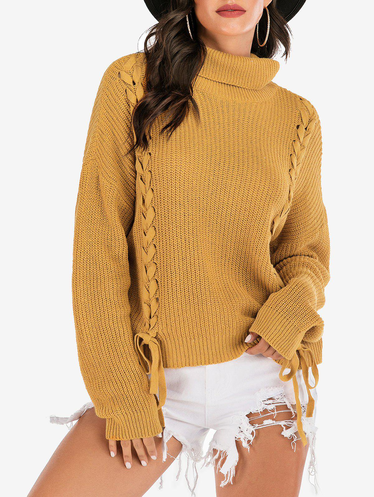 Affordable Turtleneck Lace-up Ribbed Drop Shoulder Sweater
