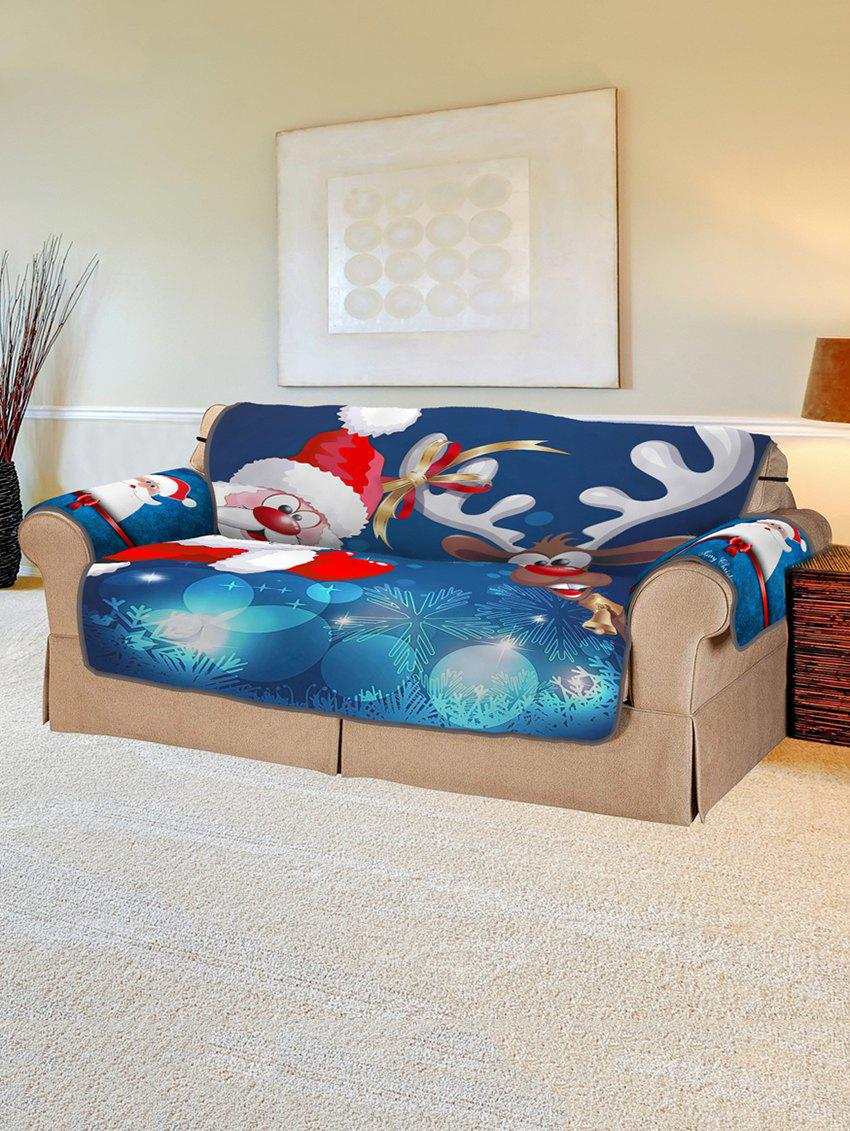 Discount Christmas Santa Claus Elk Sleigh Pattern Couch Cover